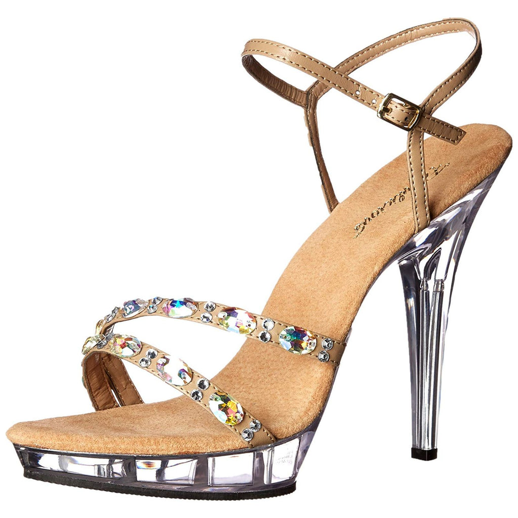 Taupe Party Prom Bridal Platform Ankle Strap Sandal Shoes FABULICIOUS LIP-133