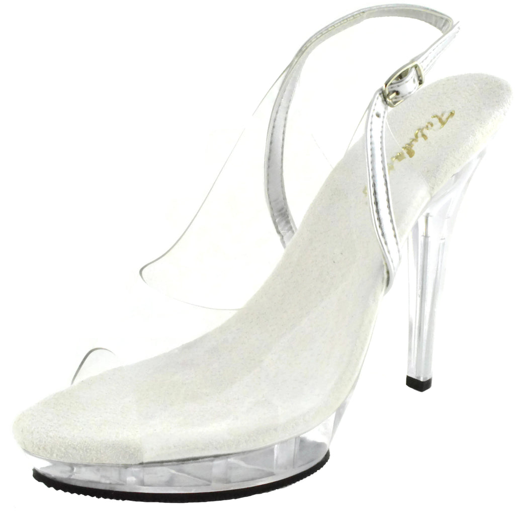 Clear Silver Party Prom Bridal Slingback Sandal Womens Shoes FABULICIOUS LIP-150