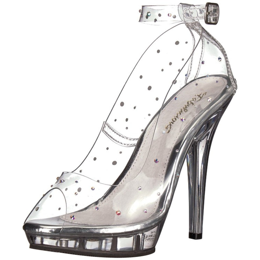 Clear Rhinestone Party Prom Bridal Ankle-Strap Pump Shoes FABULICIOUS LIP-183