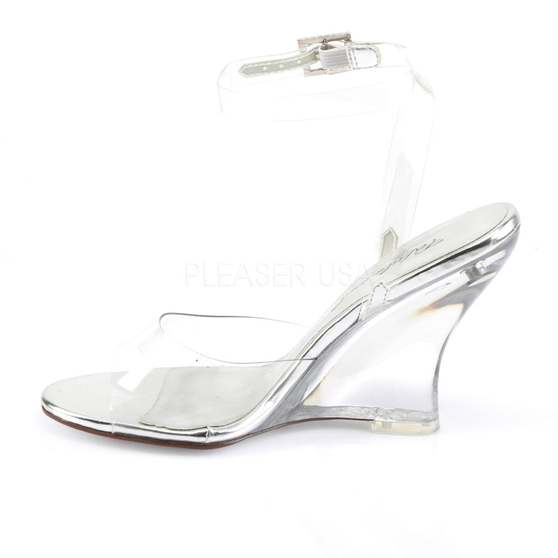 Clear Wedge Wrap Around Ankle Strap Women Bridal Wedding Sandal Shoe FABULICIOUS