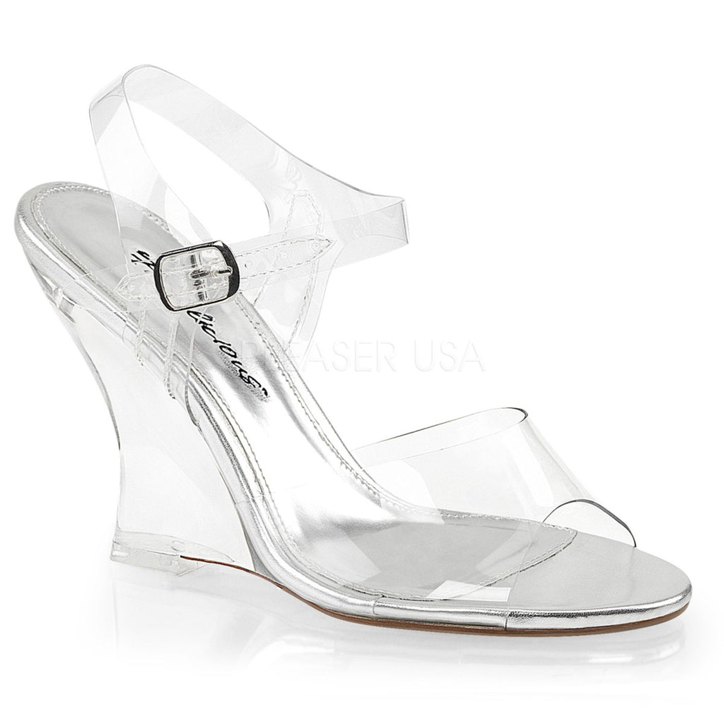 Clear Bridal Dressy Wedge Ankle Strap Single Sole Sandal FABULICIOUS LOVELY-408