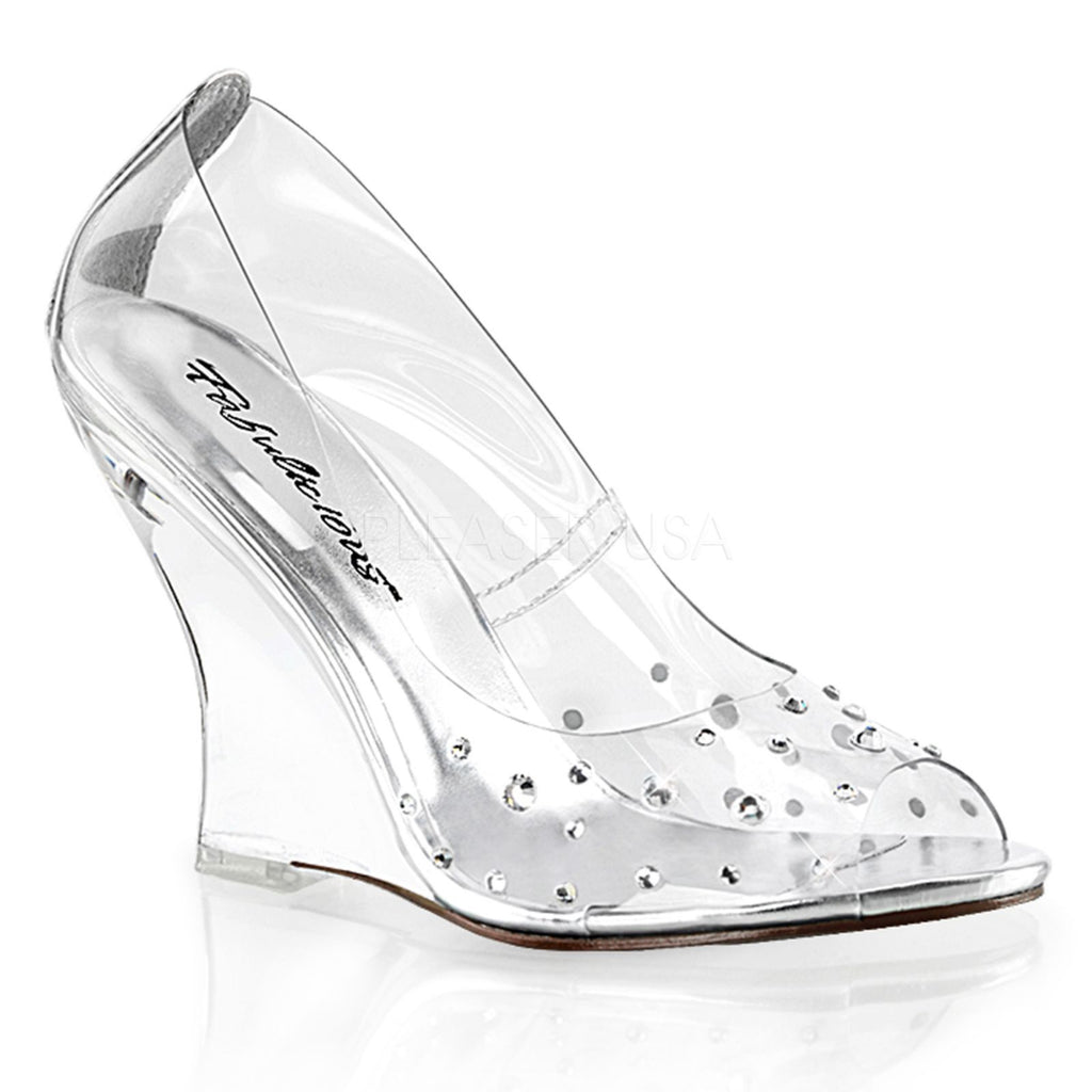 Clear Womens Peep Toe Wedge High Heel Rhinestone Pumps FABULICIOUS LOVELY-420RS
