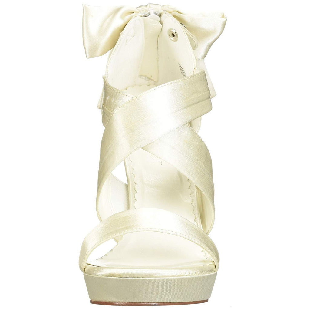 Ivory Satin Sexy High Heels Criss Cross Bridal Wedding Shoes Sandals PLEASER