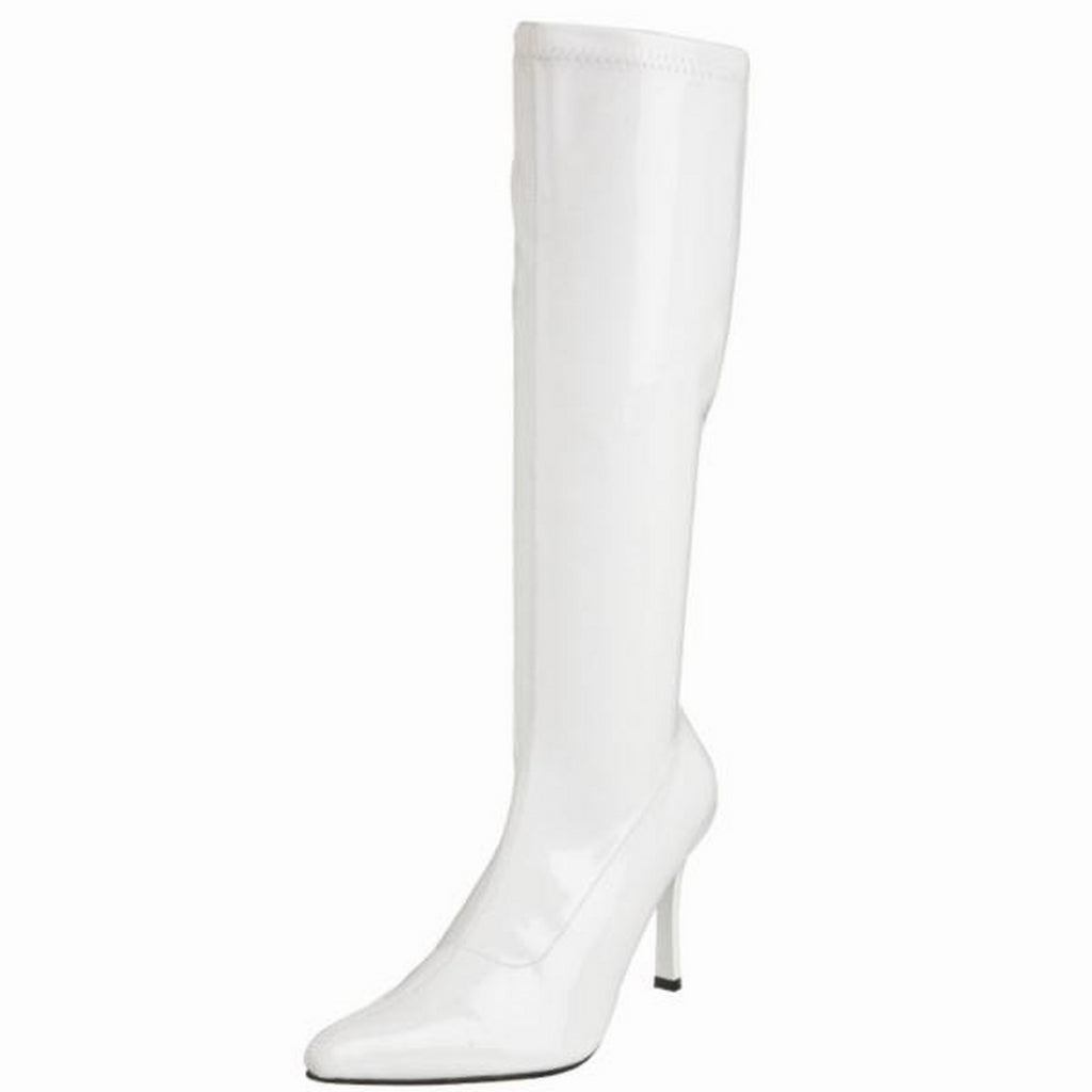 FUNTASMA LUST-2000 Cosplay Costume Knee High GOGO Boots White Stretch Patent