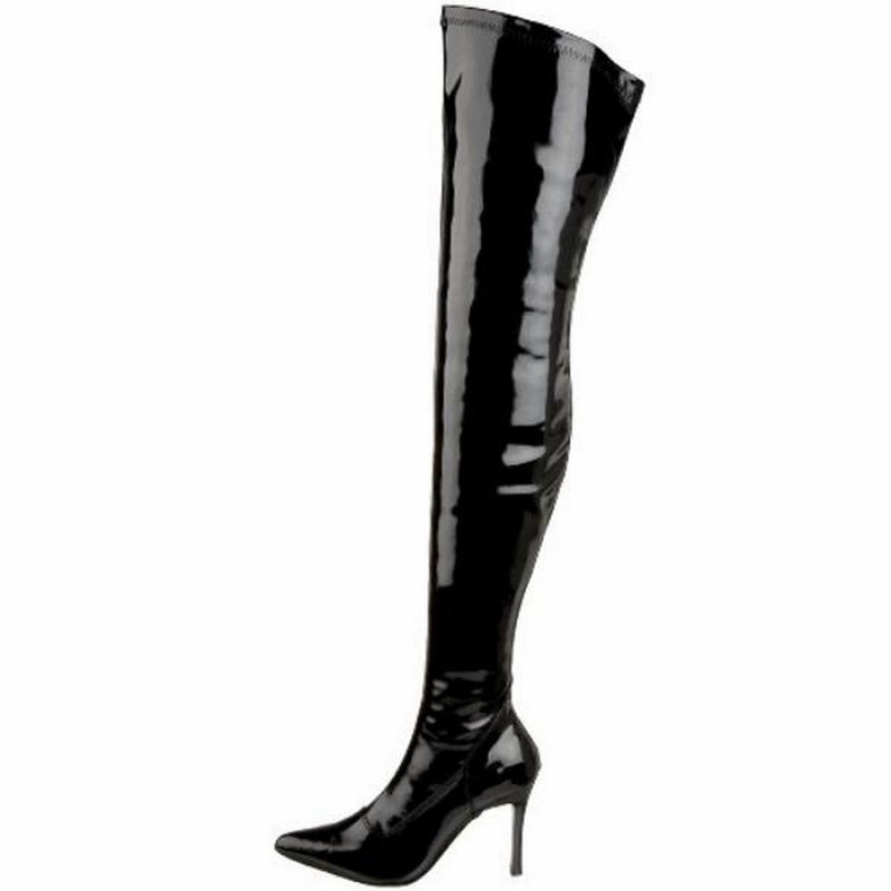 FUNTASMA LUST-3000 Sexy Costume Wide Width Thigh High Boots Black Stretch Patent