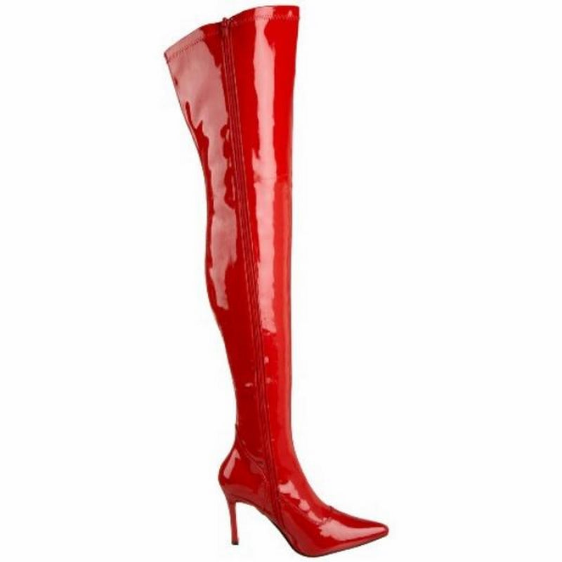 FUNTASMA LUST-3000 Sexy Costume Wide Width Thigh High Boots Red Stretch Patent