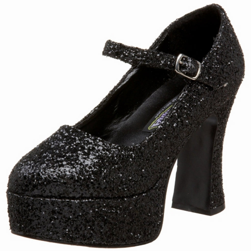 Black Glitter Womens Shoes Mary Jane Pump High Heel FUNTASMA MARYJANE-50G