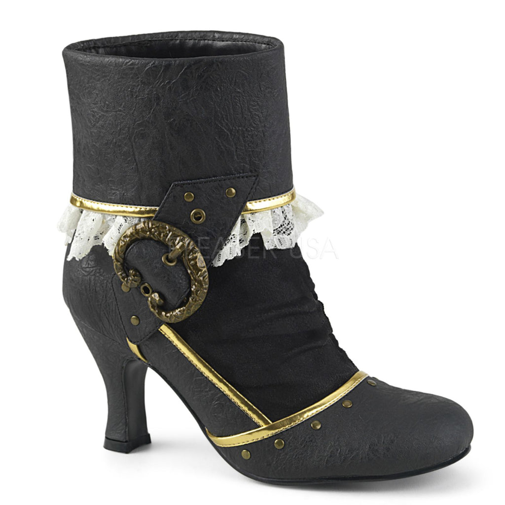 Black Distressed PU Microfiber Womens Cuffed Ankle Boots FUNTASMA MATEY-115
