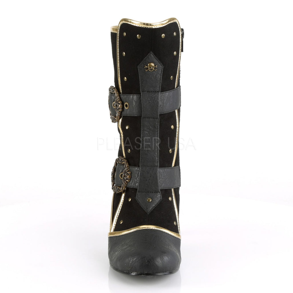 Black Gold Trims Womens Ankle Boots Steampunk Pirate Edwardian Cosplay Costume
