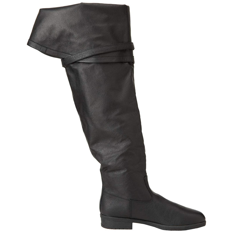 Black Pirate costume Bell Cuff Knee High Flipped Up Boots MAVERICK-2045 Funtasma