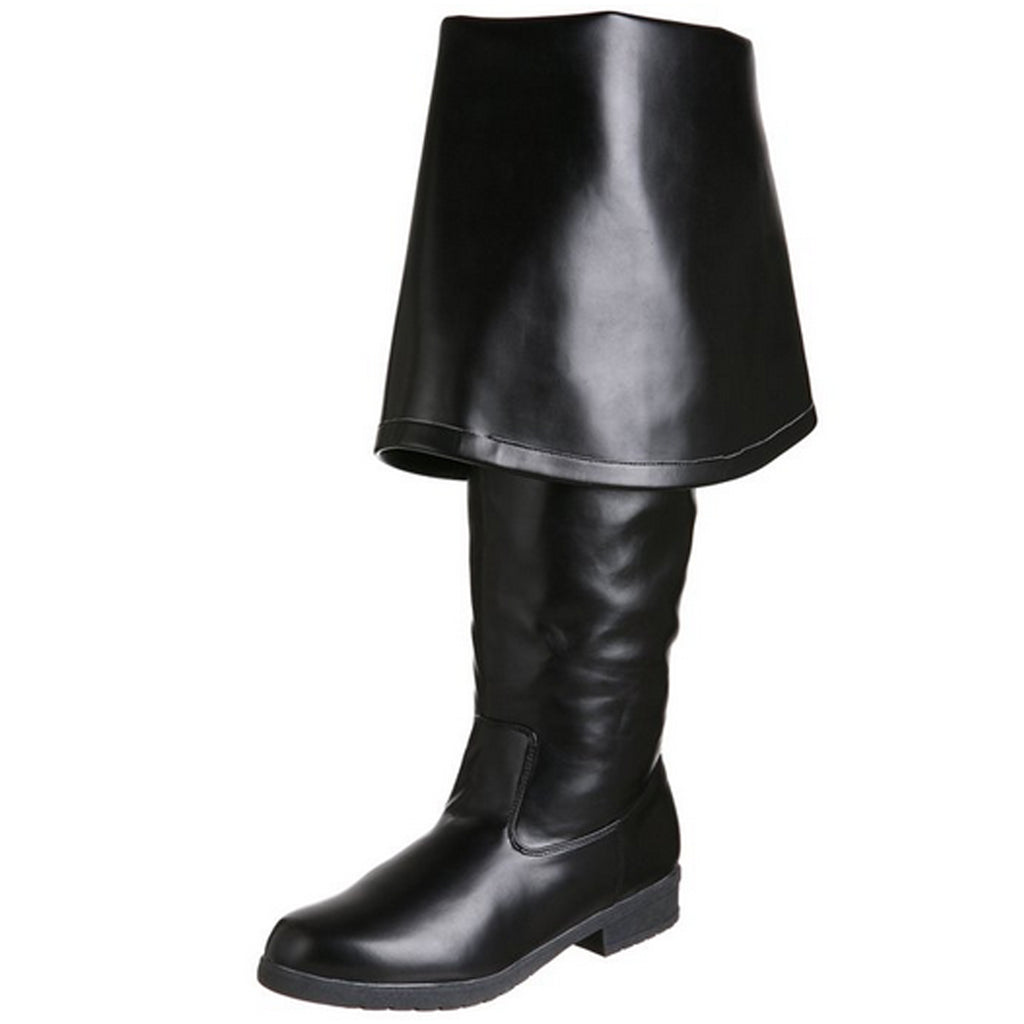 Black Matte Captain Pirate Renaissance Costume Knee Boots MAVERICK-2045 Funtasma