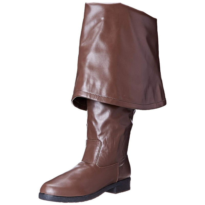 Brown Pirate Medieval Costume Knee High Heeled Boots Cuff MAVERICK-2045 Funtasma