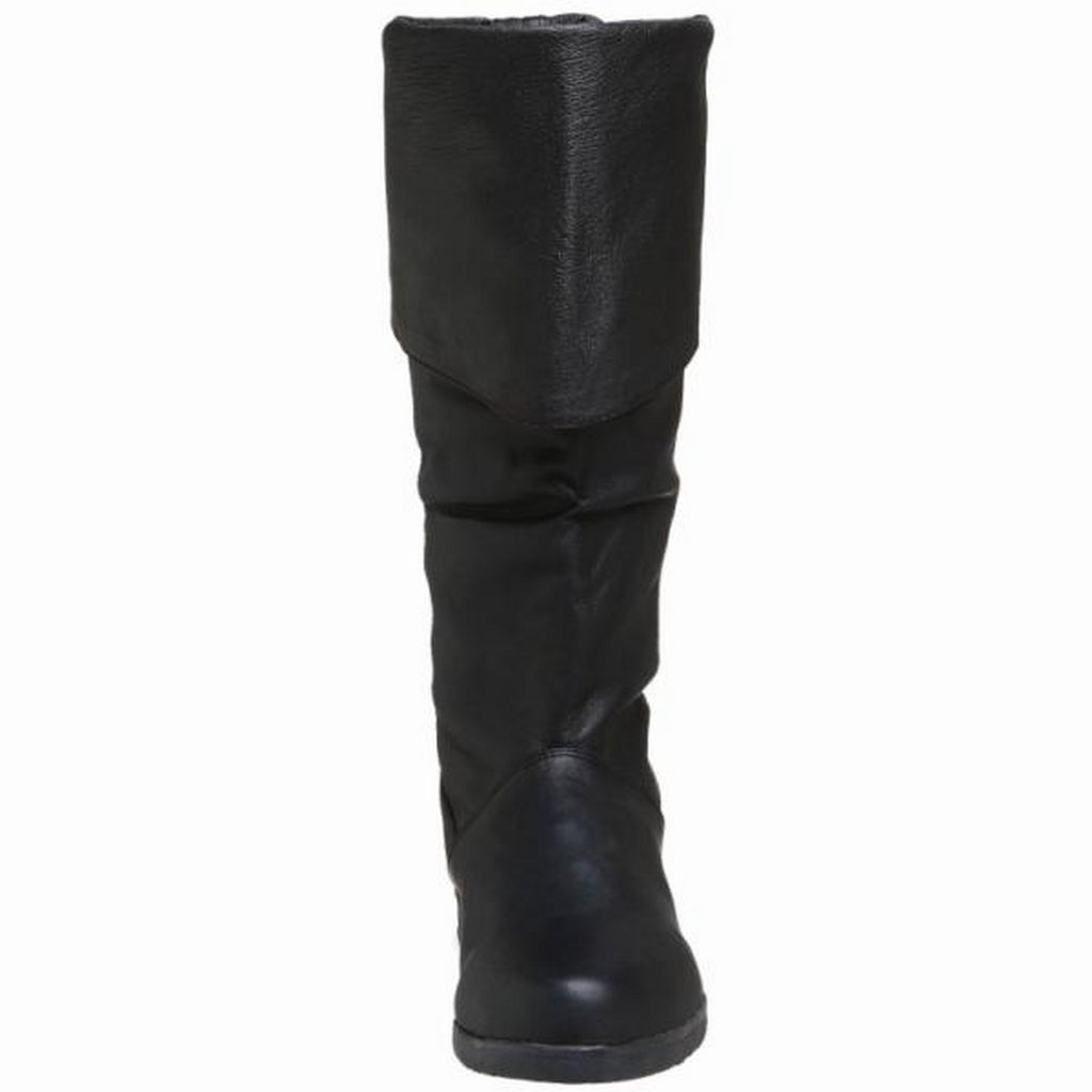Black Knee High Mens Halloween Costume Leather Boot Pirate Low Heel no Zipper