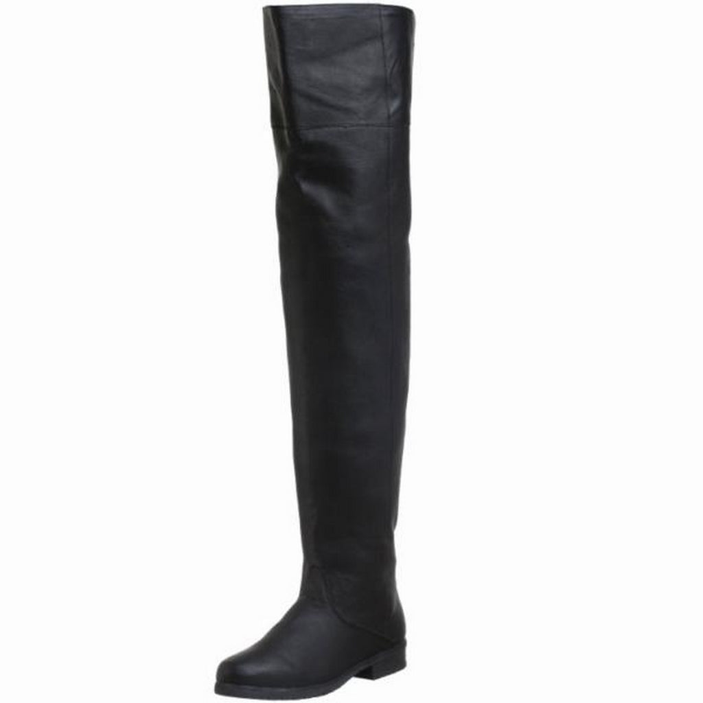 Black Halloween Medieval Pirate Thigh High Boots Heel Men MAVERICK-8824 Funtasma