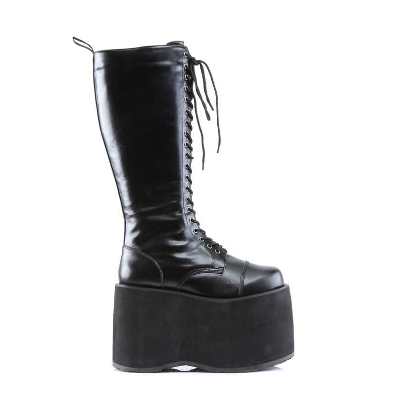 Black Matte yber Goth Punk Alternative Platform Knee High Boots Front Lace Up