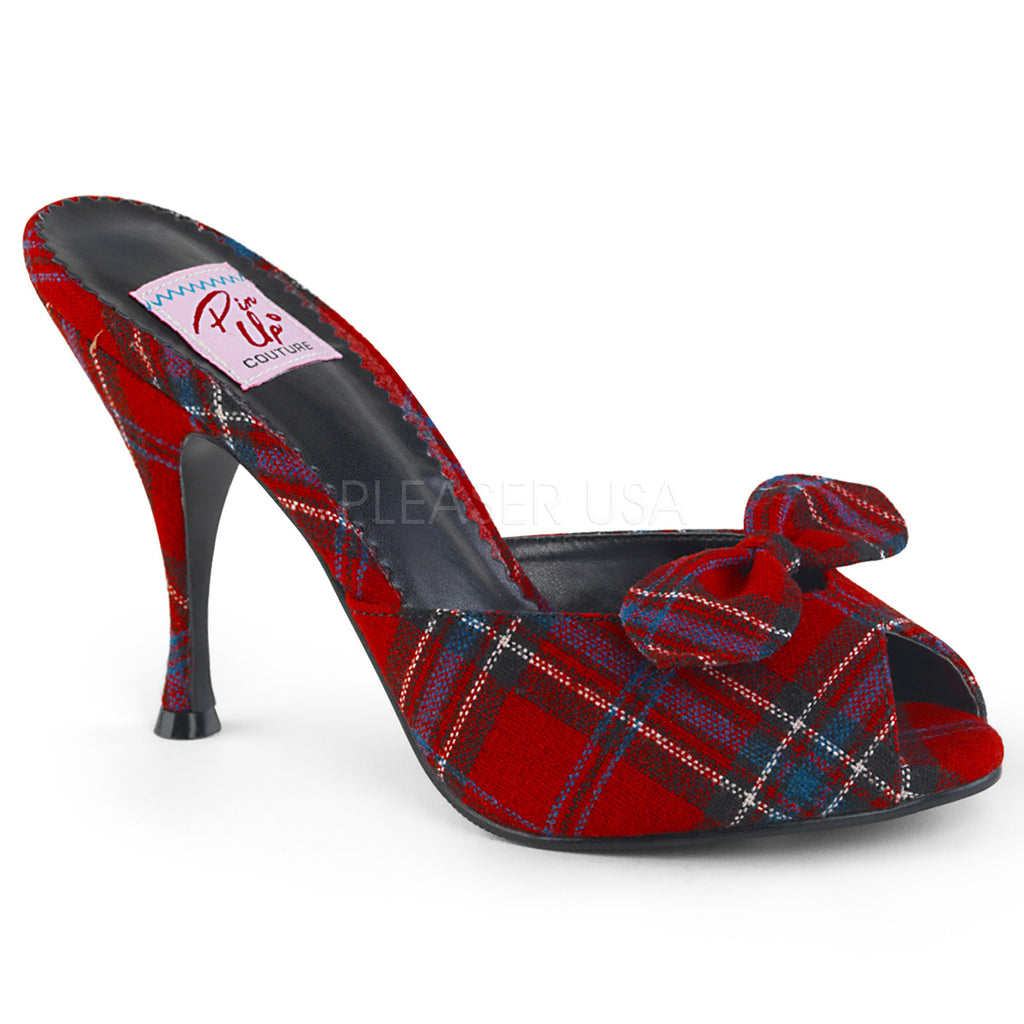 Red Plaid Fabric Slide Sexy Dressy Bridal Slip On Single Sole Peep Toe Sandals