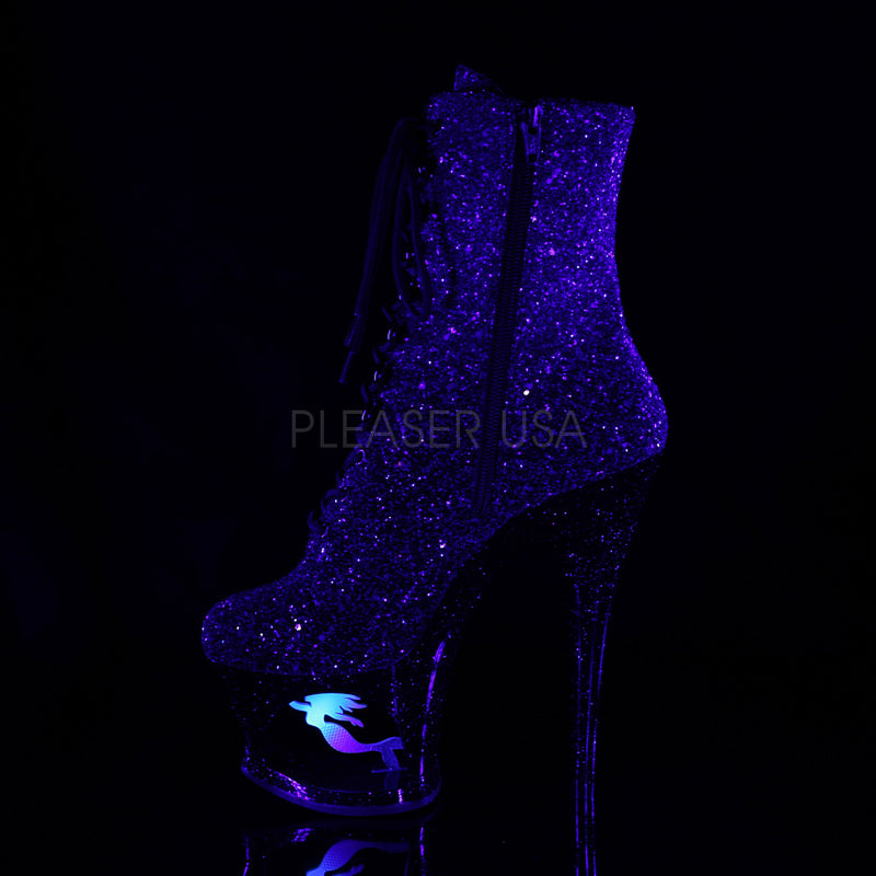 Purple Black Glitter Platform Ankle Boots Mermaid Sexy Stripper High Heels Shoes