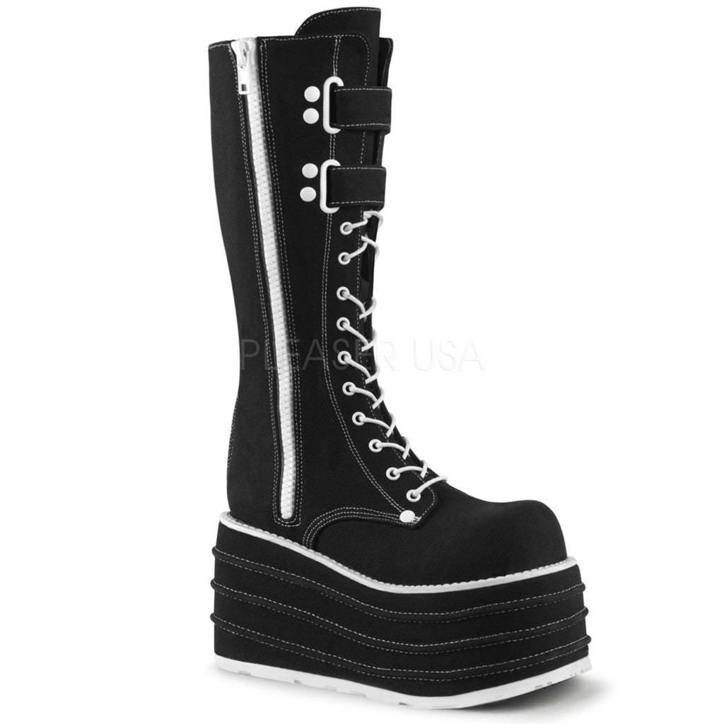 Black Canvas Wedge Platform Goth Punk Biker Rave Knee High Boots Front Lace Up