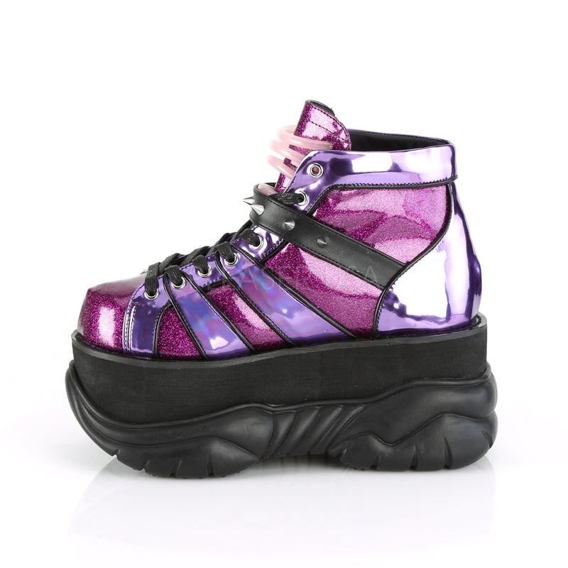 Purple Glitter Hologram Mens Gothic Punk Goth Platform Lace Up Ankle Boots Shoes