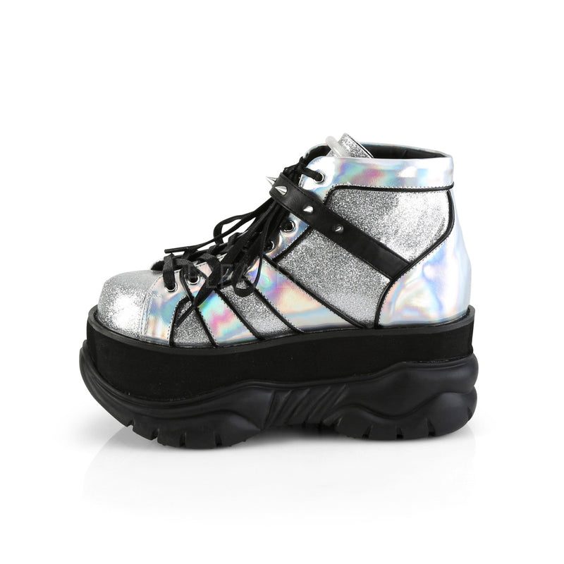 Silver Glitter Hologram Mens Gothic Punk Goth Platform Lace Up Ankle Boots Shoes