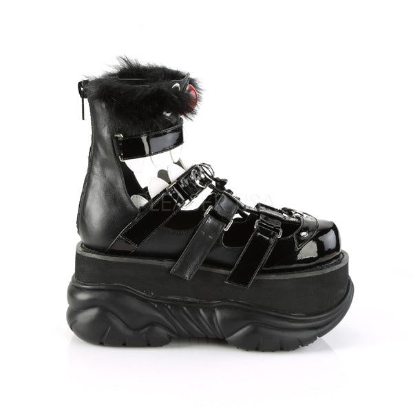 Black Vegan Leather Mens Platform Cage Style Monster Ankle High Bootie Sandals