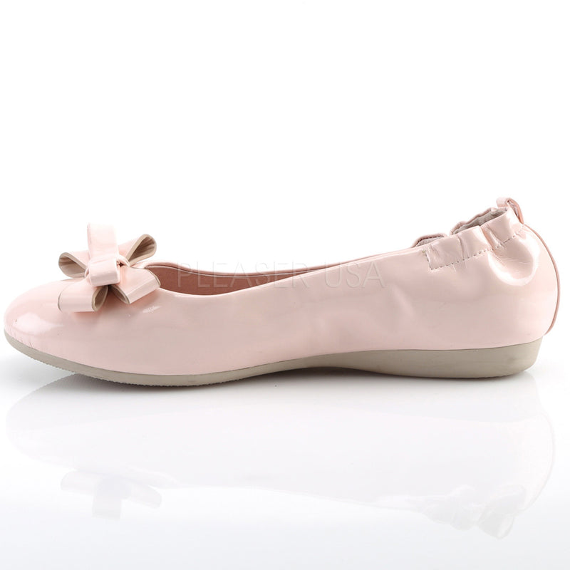 Baby Pink Patent Womens Retro Rockabilly Vintage Flats Round Toe Foldable Shoes