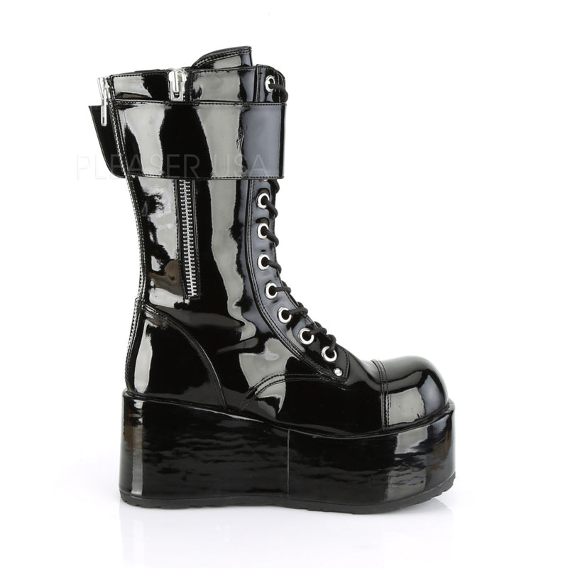 Black Patent Mens Lace Up Wedge Platform Mid Calf Boots Combat Goth Punk Biker