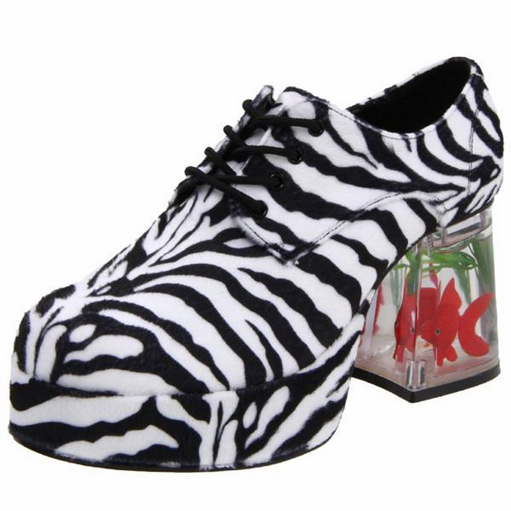 Black Disco White Zebra Fur Oxford Floating Gold Fish Platform Heel Men Shoes
