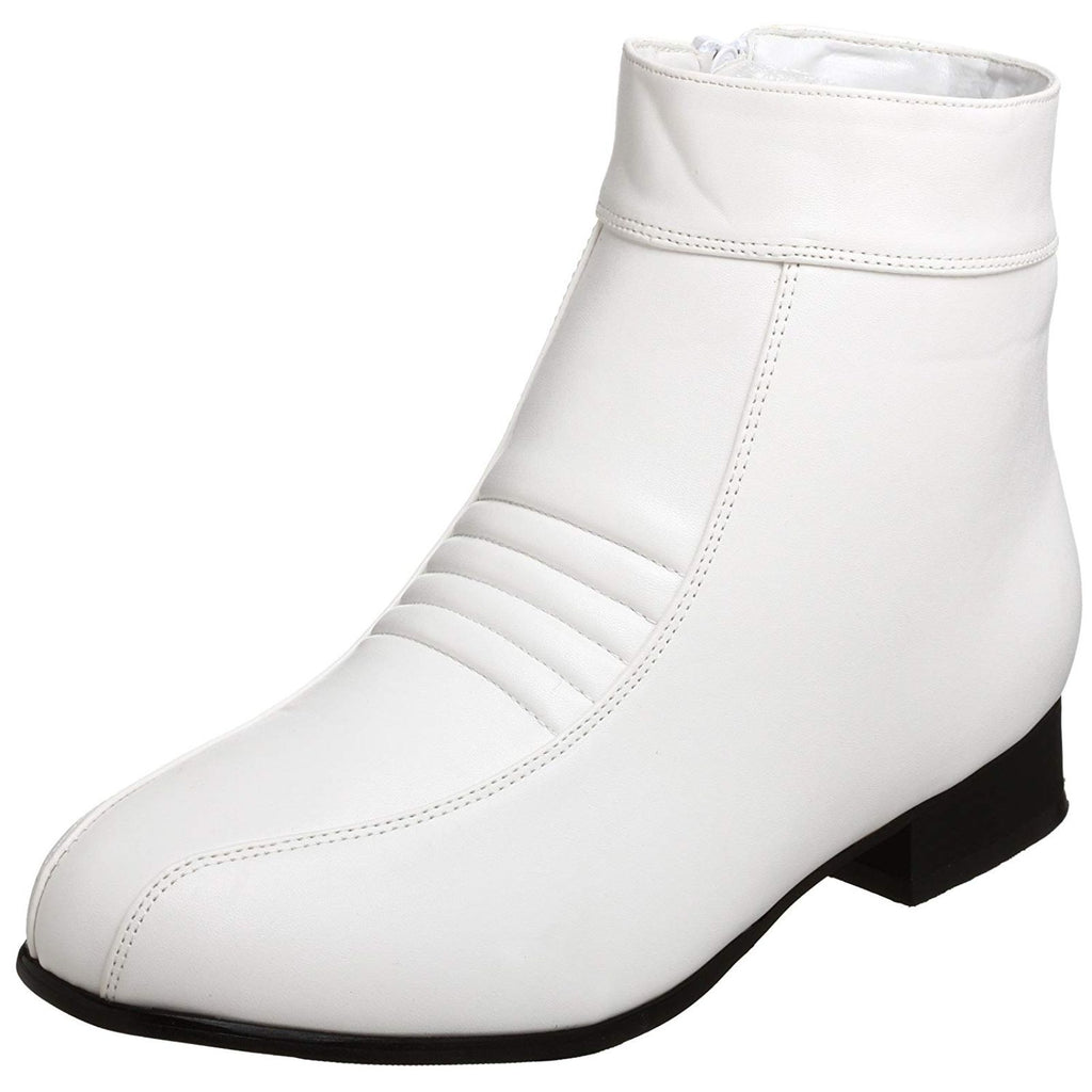White Retro Comic Hero Trooper Halloween Costume Inner Zipper Men Ankle Boots