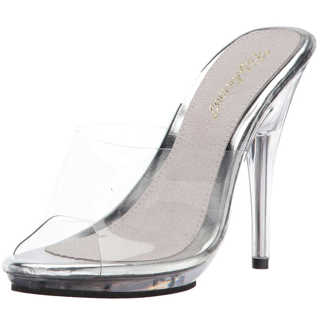 Clear Sandal Womens Platform Slide Slip On Mule Heel Shoes Fabulicious POISE-501