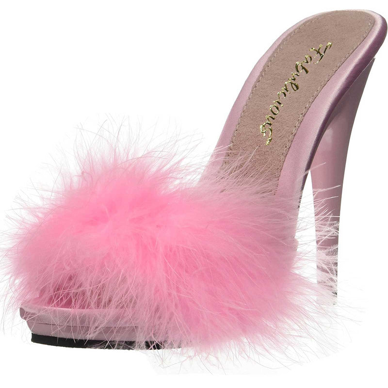 Baby Pink Satin Womens Marabou Fur Platform Slide Sandals Fabulicious POISE-501F