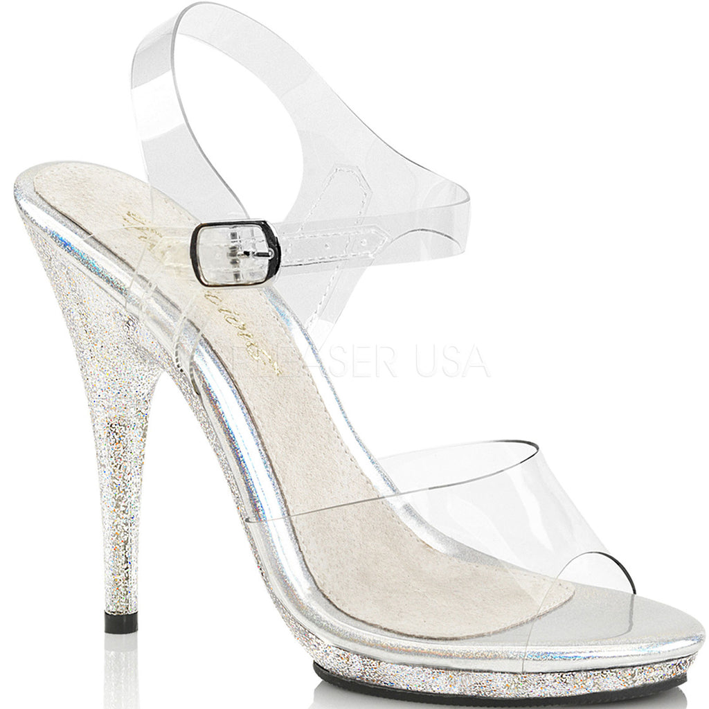 Clear Glitter Ankle Strap Sandals High Heel Stiletto Platform Prom Bridal Shoes