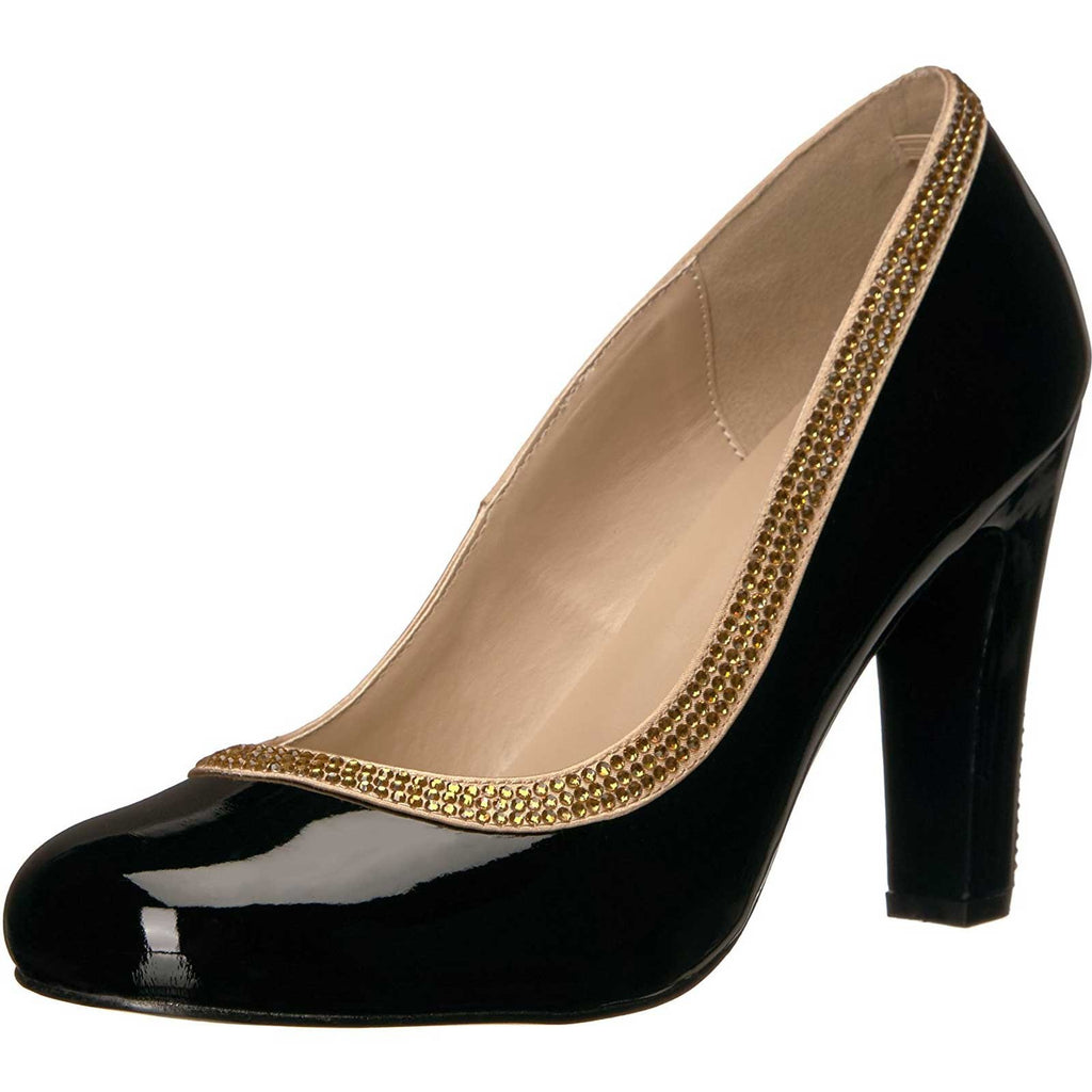 Black Chunky Heel Rhinestone Trim Round Toe Pumps Womens Platform Dress Shoes