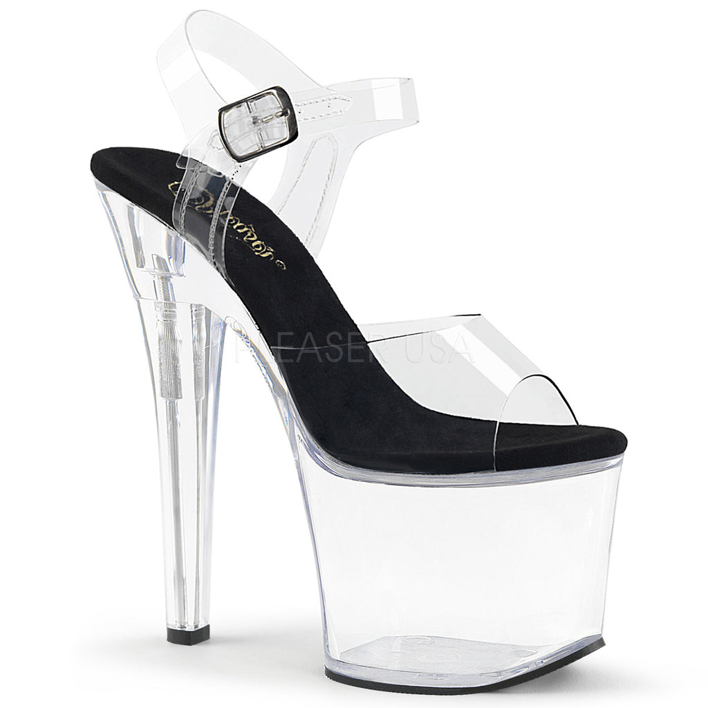 Black Clear Heel Platform Open Toe Ankle Strap Sandal Shoes Pleaser RADIANT-708