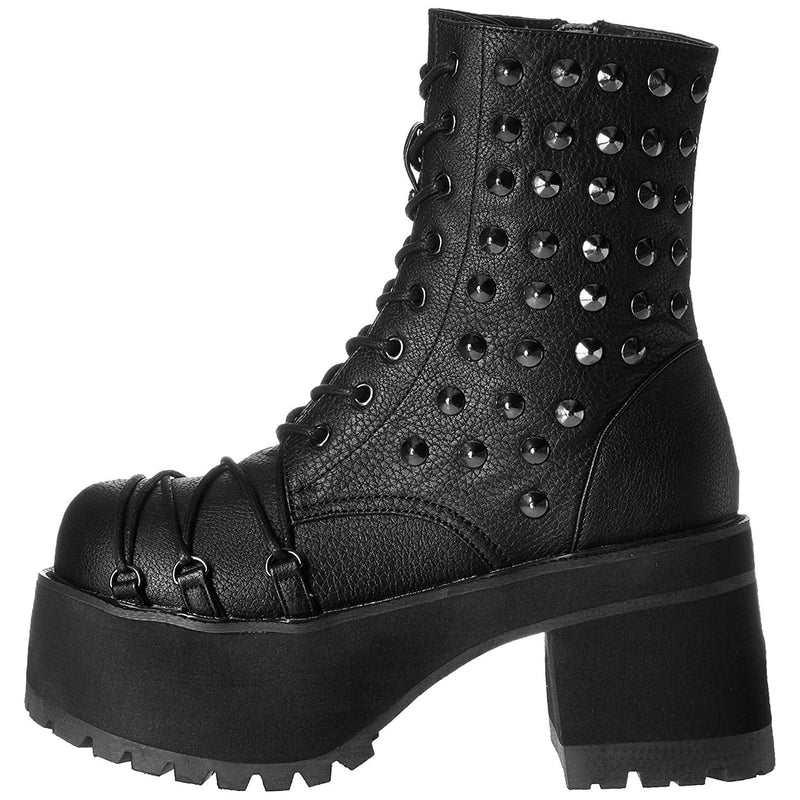 Black Ankle High Boots Criss Cross D-Ring Lace Up Vamp Spikes Goth Punk Platform