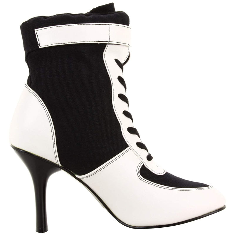 Black Canvas White PU Womens High Heel Lace Up Sport Boots FUNTASMA REFEREE-125