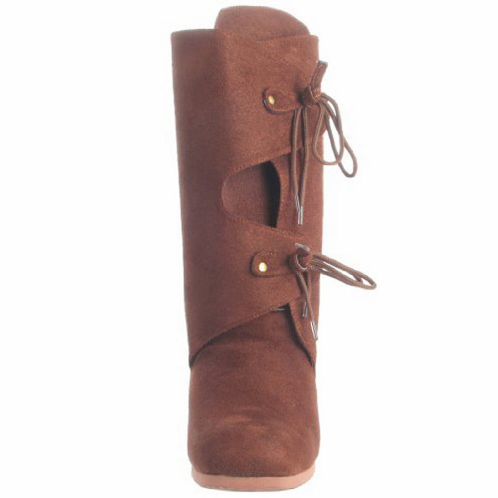 Brown Microfiber Mens Medieval Pirate Costume Mid Calf Boots RENAISSANCE-100