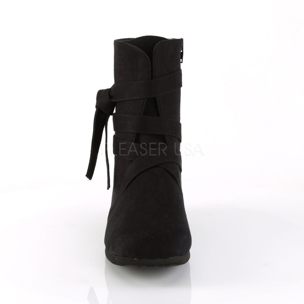 Black Microfiber Mens Ankle Boots Renaissance Medieval Pirate Costume Shoes