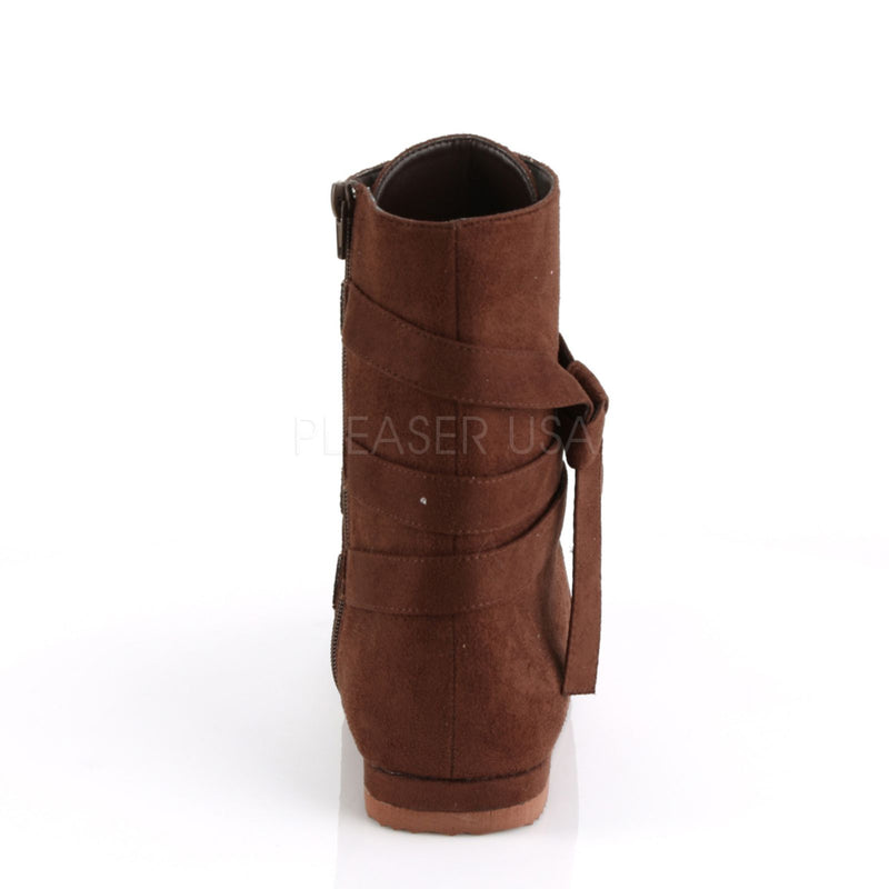 Brown Microfiber Mens Ankle Boots Renaissance Medieval Pirate Costume Shoes