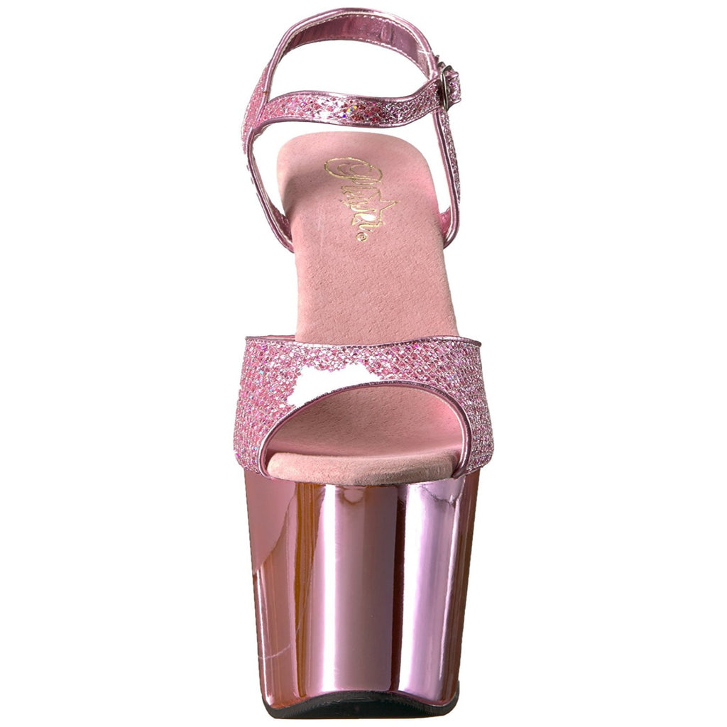 Baby Pink Glitter Chrome Ankle Strap Sandals High Heel Platform Stripper Shoes