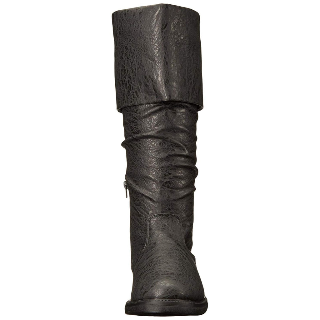 Black Distressed Pu Mens Robinhood Cuffed Knee High Renaissance Boots Flat Heel