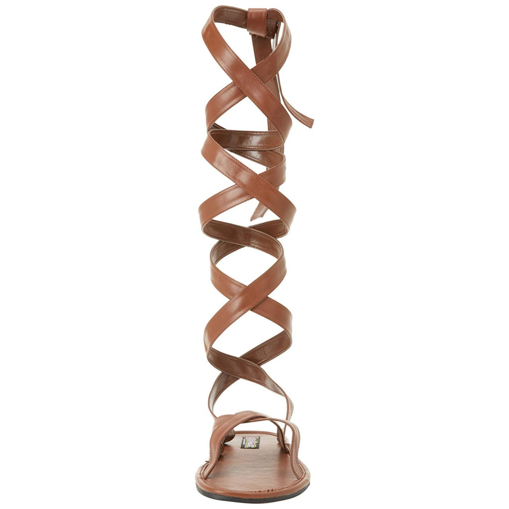 Brown Matte Men Roman Gladiator Costume Strappy Wide Band Calf Wrap Flat Sandals