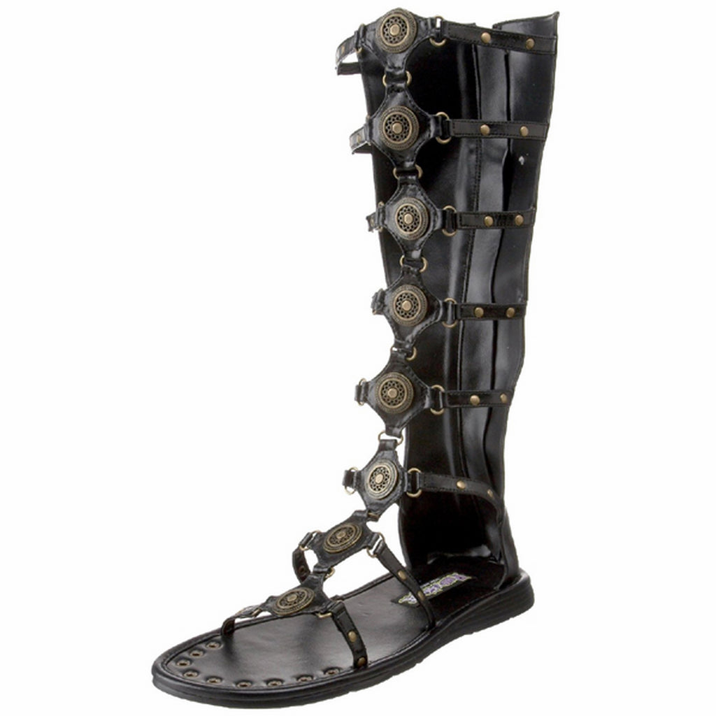 Black Matte Costume Gladiator Spartan Low Heel Buckle Strappy Back Zip Sandals