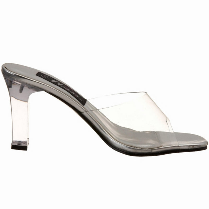 Clear Lucite Shoes Slip On Slide Sandals Open Toe Heels FABULICIOUS ROMANCE-301