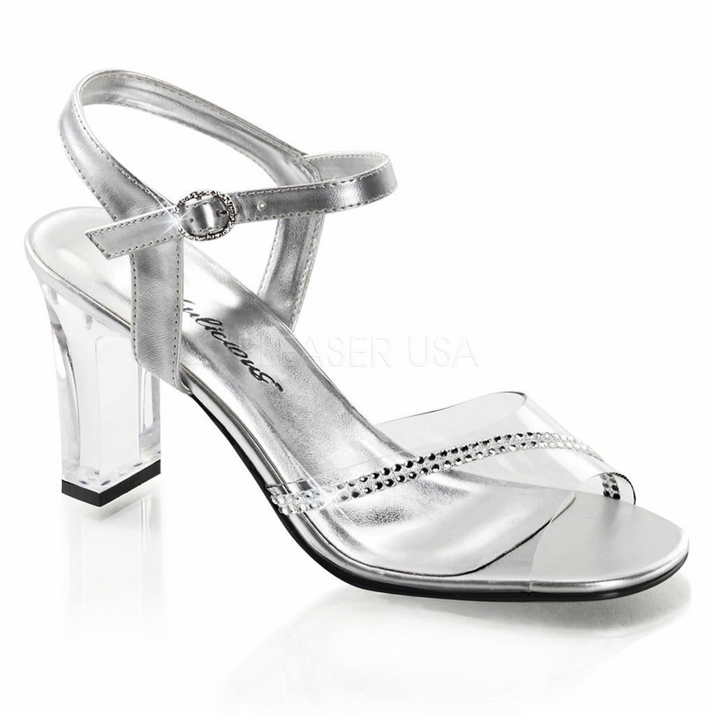 Clear Rhinestones Party Prom Bridal Ankle Strap Sandal FABULICIOUS Romance-308R