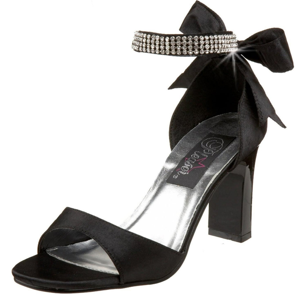 Black Satin Rhinestones Ankle Strap Sandals Square Heels Party Prom Bridal Shoes