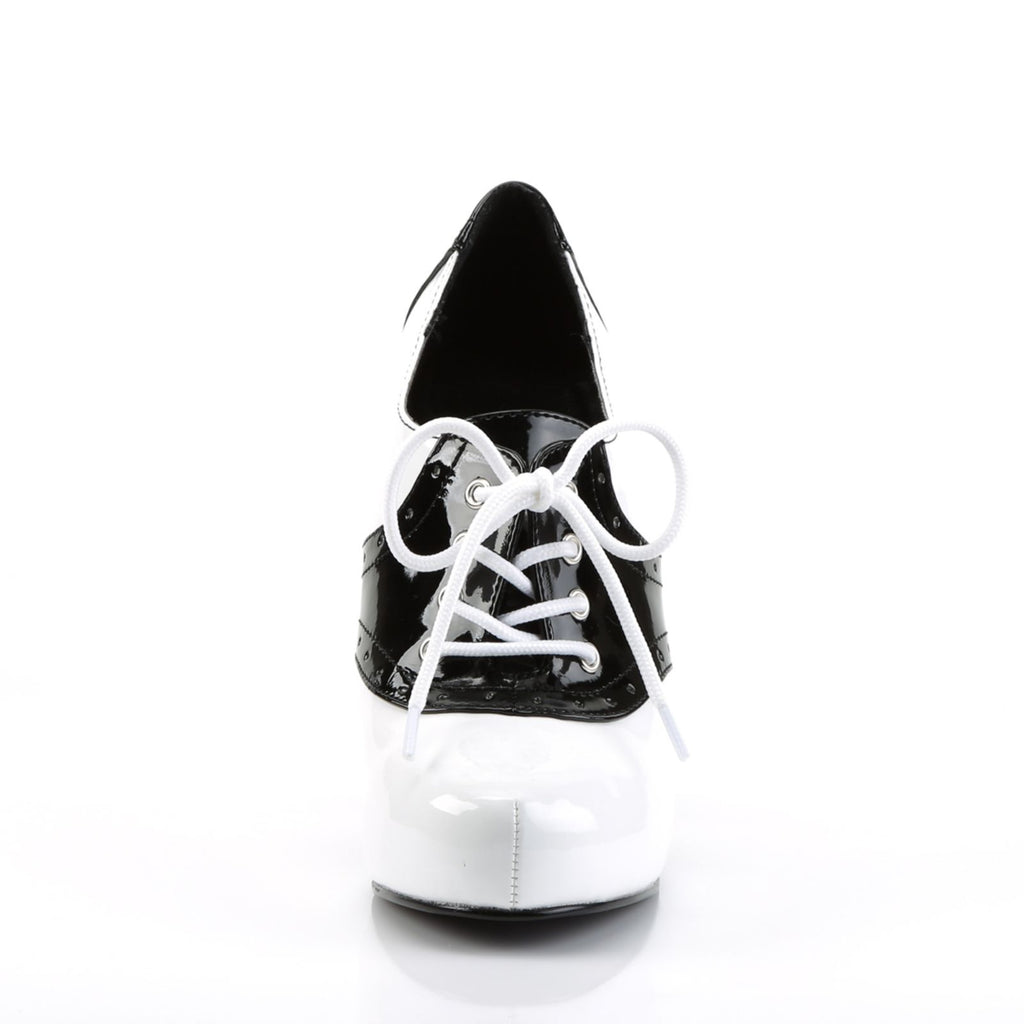 Black White Retro 50's Oxford Saddle High Heel Halloween Womens Costume Shoes