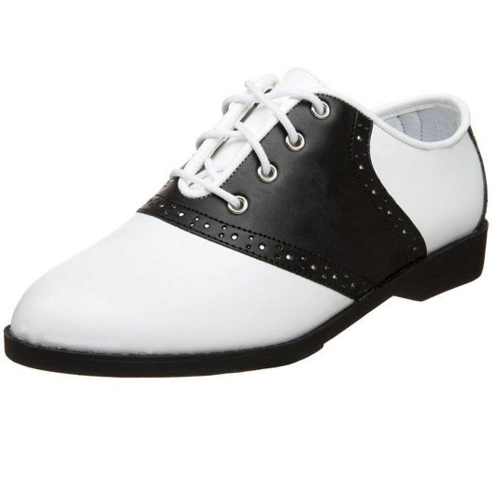 Black White Retro 50's Flats Oxford Saddle Halloween Womens Grease Costume Shoes
