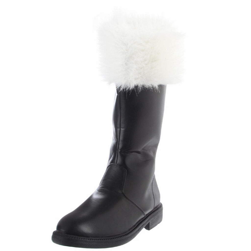 Black PU White Faux Fur Mens Mid Calf Boots Cosplay Costume FUNTASMA SANTA-100
