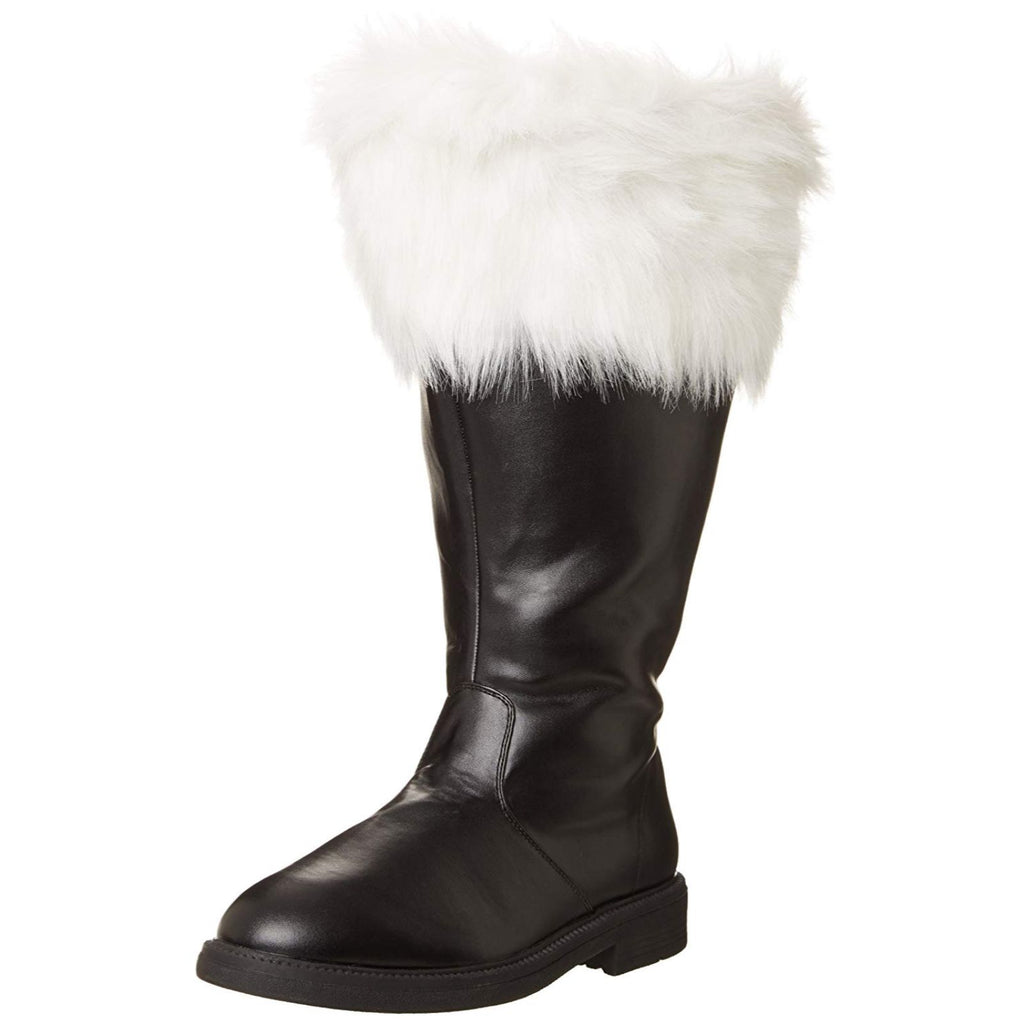 Black PU White Faux Fur Mens Wide Calf Santa Boots Halloween Cosplay Costume